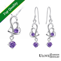 Dual love 925 Sterling Silver Full CZ Zircon New Arrival Fashion Beauiful Purple Crystal Jewelry Sets For Women Free Shipping
