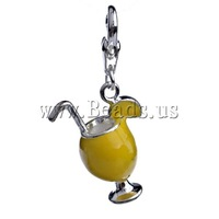 Free shipping!!!Zinc Alloy Lobster Clasp Charm,Jewelry Brand, Cup, enamel, yellow, nickel, lead & cadmium free, 35x16.50x9.50mm