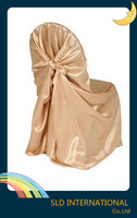 Free Shipping Universal Champagne pillow case style self tie Satin Chair Covers For Wedding Decoration