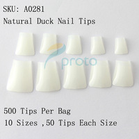 FREESHIPPING 500 Natural  Duck Nail Tips Wide False Nail Tips Acrylic Nail Dropshipping [ retail ] SKU: A0282