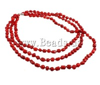 Free shipping!!!Coral Necklace,Tibetan Jewelry, Natural Coral, brass slide clasp, 3-strand, red, 6-10mm, Length:15.5 Inch