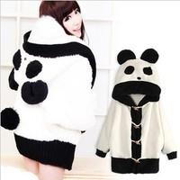 Cute Girls Loose Plus Size Velvet Thickening Hoodies Womens Animal Panda Ear Plush Fleece Sweatshirts White Female Outerwear