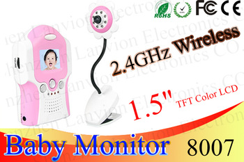8007--2.4G 1.5 inch TFT Wireless Baby Monitor with Night Vision, Voice Control, AV OUT