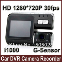 "Free Shipping i1000 Car DVR Camera Recorder 2.0"" TFT HD 1280*720P 30fps G-Sensor Night Vision Cyclic Record Motion Detect AV-OUT"