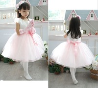 2013 Free Shipping Ball Gown Flower Girl Dresses with bow Lace Tulle knee length baby girls cute pageant wedding party gown