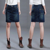 2013 Dark Blue pure denim skirt bust skirt career slim hip denim skirt medium skirt plus size a