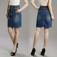 Female l blue plus size high waist denim skirt medium skirt slim hip full dress bust skirt