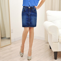 Water wash 2013 Dark Blue casual denim skirt denim skirt medium bust skirt slim plus size brief slim