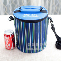 Cylindrical thickening stripe cooler bag, insulation bag lunch box bag,cooler bag,free shipping