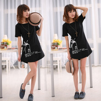 2013 New Summer Women Lady Windwill Printing Combed Cotton Round Neck Short Sleeve Loose Medium Style T Shirt,