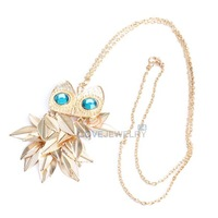LY4# Vintage Women Gold Leaves Owl Pendant Design Necklace Long Chain Gift