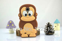 Hot sale Cartoon 3D Cute Animal Monkey Silicone Cover Case for Samsung Galaxy S4 SIV i9500 Free Shipping