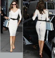New 2013 Autumn Fashion Women's White Three Quarter Sleeve V-neck Back Zipper Slim Plus Size Celebrity Dresses Free Ship HX096