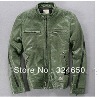 Leather garment  suede man Fur coat Winter Parkas Men shiipskin Jackets Army green Black Outwear 2013 Fashion
