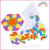 138 pcs/set Muma Colorful Wooden Tangram Puzzle Kids Toy Free Shipping