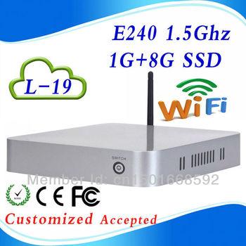 ULP AMD E240 L-19 1G RAM 8G SSD fan industrial pc case slim htpc pc station Dimension 19.7*19.7*4cm