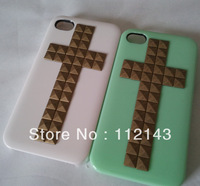 Free shipping New Pyramid Stud handmade Mint Green Rivet Case Cover For Apple iPhone 4 4S studded case