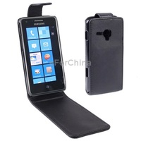 Black Vertical Flip Leather Case for Samsung Omnia M  S7530