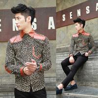 New designer mens   Men slim patchwork small leopard print shirt the trend of   items 2013
