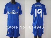 2013 -2014 Spain Real Madrid Away 19#   MODRIC    Blue  Soccer Jersey shorts Thailand Football Shirt Customized