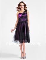Purple One-Shoulder Knee Party Dresses Cocktail Dresses Evening Dresses Pageant Dresses Custom Size 2-10-20 JLC820616