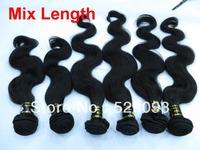 Wennie's Mix length 100% Indian Virgin Remy Human Hair Weave 3pcs/4pcs/lot Body Wave 8''-30'' Natural  Black  Free Shipping