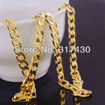 "Hot sale  Mens or womens Necklace 24k Yellow Gold Filled Necklace 24""10mm 72g  Solid Curb Chain Link GF Jewelry Free S/H"