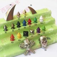 158pcs Alloy material Spike garment accessories iridescent color mixture