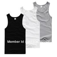 Free shipping 2013 Fashion Solid Tight Sports Elastic Cotton Men Vest ,black white gray underwear men Hot sale