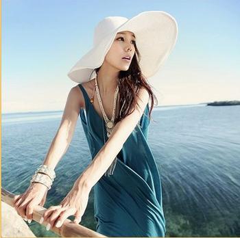 Summer women's big along the cap big strawhat sunbonnet large brim beach hat strawhat hat
