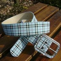 Free shipping Hot Sale Classic fashion plaid belt fashion side buckle with diamond belt women's plaid strap pink