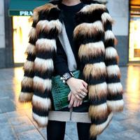 Patchwork horizontal stripe faux medium-long outerwear artificial leather  faux fur jacket warm clothing women  overcoat 2014
