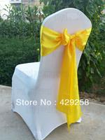 Free Shipping 100pcs Yellow Satin Sash Chair Sashes Chair Bow Knot