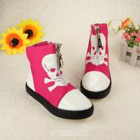 2014 autumn Female child canvas single shoes cartoon children high side zipper shoes