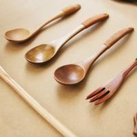 Endulge zakka japanese style solid wood spoon stirring rod tie-line coffee mixing spoon fork
