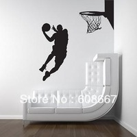 Free shipping  110cm*118cm Slam dunk Basketball Sports Wall Art sticker Home Decor Fashion Mural Decal Art  L-87