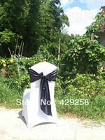 Free Shipping 100pcs Black Satin Sash Chair Sashes Chair Bow Knot