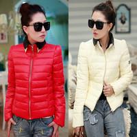 2013 spring autumn winter ladies cotton jacket o-neck long-sleeve coat fashion down jacket coat newest design parks outwear