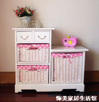 Rustic furniture cabinet wood storage cabinet brief storage living room cabinet rattan storage cabinet