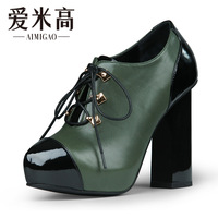 Aimigao 2013 lacing patchwork cowhide thick heel high-heeled fashion boots