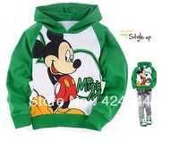 Free shipping, 2013 Retail childrens Green clothing Mickey boy's girl's top shirts Hooded Sweater hoodie whole suits outfits