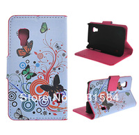 Folio Circles Butterfly Leather Wallet Case for LG E455 Optimus L5 II Dual Duet+1pcs film.freeshipping