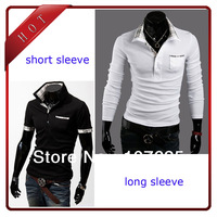 new style casual men's slim short sleeve t shirt man tops black white wine red M L XL XXL with free shipping