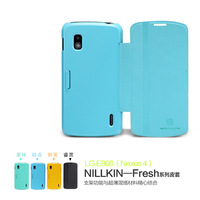 New 2013 !  Nillkin  Fresh Series  Flip Leather Case For LG Nexus 4 With Free Stylus Gift   Free shipping