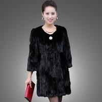 free shipping Marten fur coat overcoat Women mink fur coat medium-long o-neck Natural Mink fur coat
