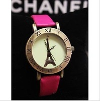 Free Shipping~2013 Newest style,Leather watches and ladies watches with Eiffel Tower watch header, Hotting in whole world #W037
