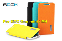 4 Color!ROCK Elegant Side Flip leather case For HTC One mini M4 PU leather + PC back cover free shipping