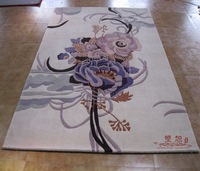 Double rich flowers pure wool handmade carpet rustic coffee table wool carpet customize