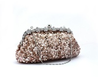 Free shipping Hot new fashion beaded sequined flowers handmade dinner package Ms. Clutch