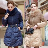 2013 winter slim medium-long fox fur down coat women